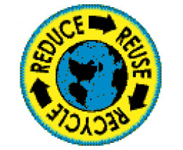 image of reduce reuse recycle to help the earth sign