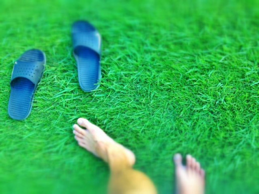 stepping on grass