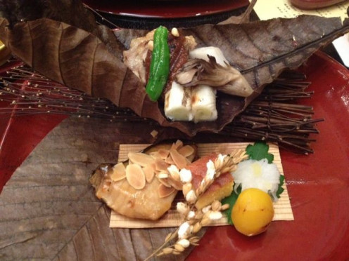 Grilled fish caught in local waters with autumn harvest. The presentation was rustic elegance.