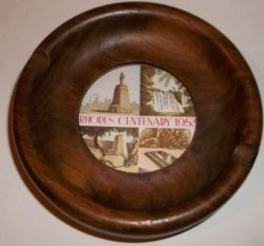 Image of ashtray of photos of Victoria Falls, Cecil John Rhodes, Worlds View, Zimbabwe Ruins
