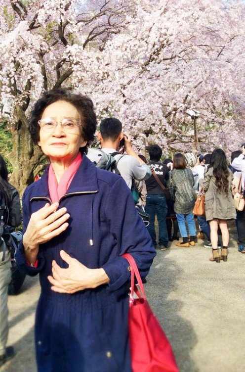 Mother during Sakura Season in Japan