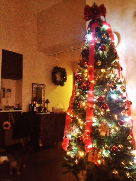 My slim Christmas tree decorate with red and gold.