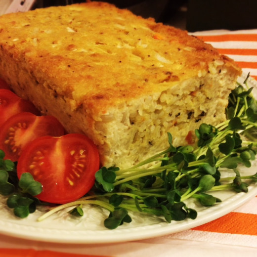 Main course is a beautiful and delicious tofu loaf.