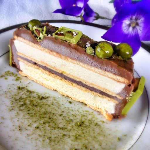 azuki and green tea ice cream cake slice