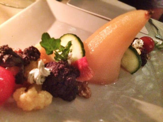 Poached pear salad was a creation of art.
