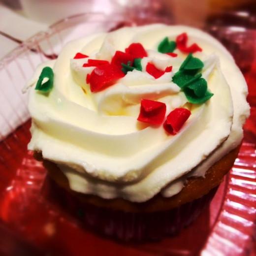 Starbucks offers holiday cupcakes. Yum!