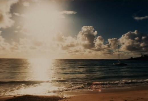 Sunrise at Mauritius beach