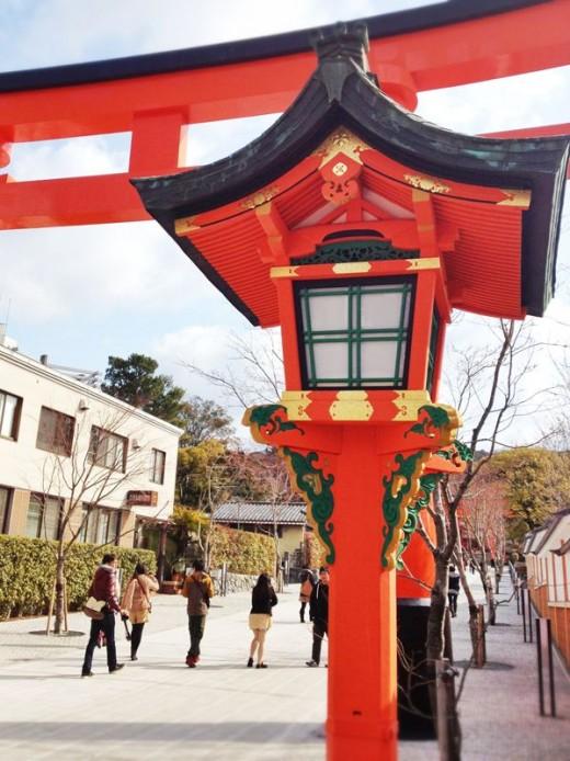 Enter through the torii gates.