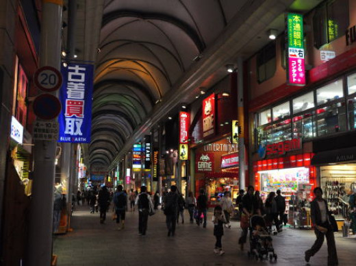 One of the shopping arcades at night.