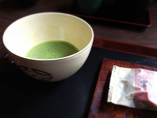 Having a much-needed matcha ( green tea ) break at one of the rest stops on the trek.