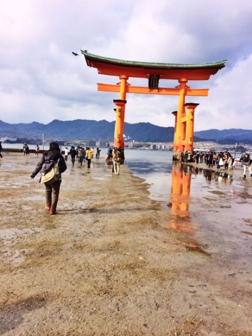 During low tide, you can walk up to the torii gate. This was around 10 AM.