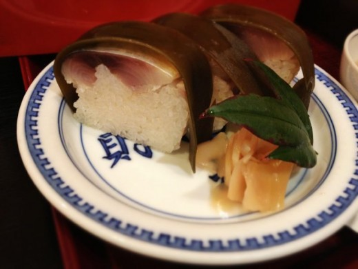 A tiny snack of Kyoto's famous Saba-Sushi. ( Mackerel sushi )