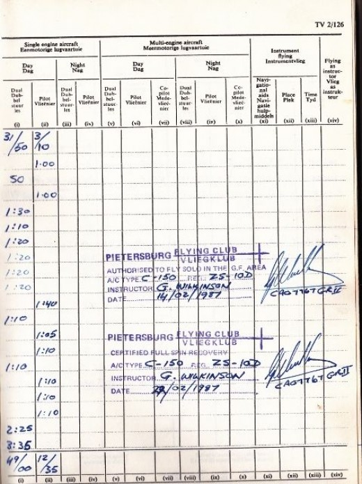 Learn to fly. Pilot's Log book