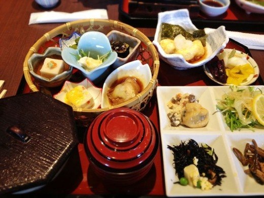 A lavish meal with various dishes called Obanzai  ( Kyoto-style family foods )