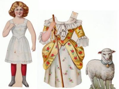 Mary Had a Little Lamb Vintage Paperdoll