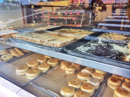 A Chinese bakery selling all sorts of goodies.