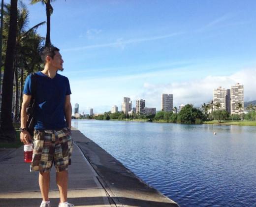 Walking along the Ala Wai Canal in Waikiki