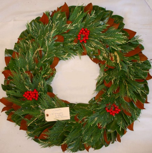 Magnolia Variegated Leland and Red Berry Wreath