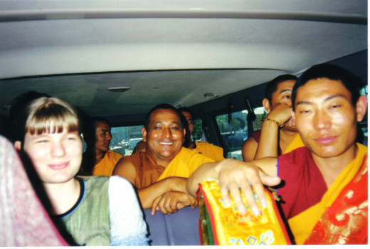 My daughter Alesia behind me in the monks van