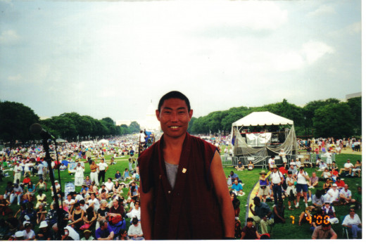 Ngawang on stage on the National Mall