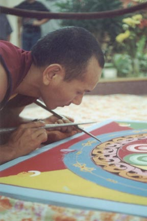 Pasang Gelek repairing the Avalokiteshvara mandala at Treasure Coast Mall. Jensen Beach, FloridaOctober 2000..photo by Risha