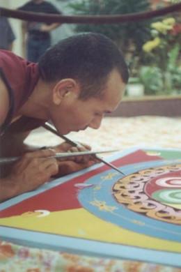 Pasang Gelek repairing the Avalokiteshvara mandala at Treasure Coast Mall. Jensen Beach, FloridaOctober 2000..photo by Risha