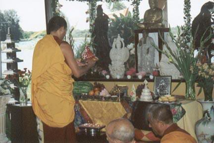 An offering at Avolokiteshvara shrine