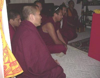 Monks performing Puja ceremony in our home