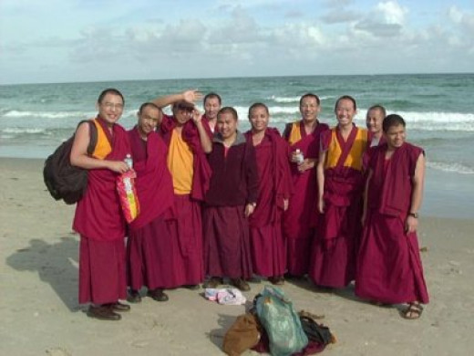 Drepung-Gomang Monks enjoying the beach
