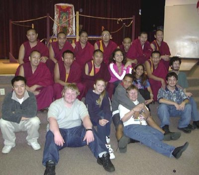 Drepung-Gomang Monks with a few of the students and their teacher, Jackie Downey