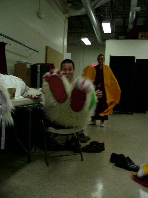 Backstage getting ready to perform