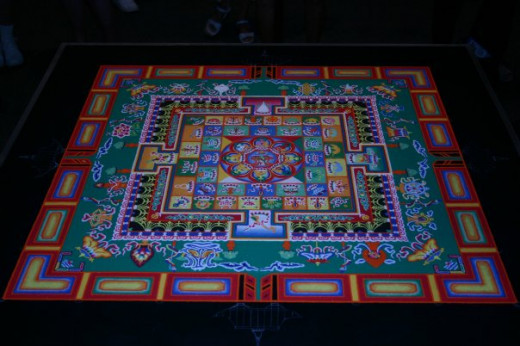Completed mandala. The monks let me pick the sand mandala they should construct so I picked the Medicine Buddha to help heal the Indian River Lagoon.