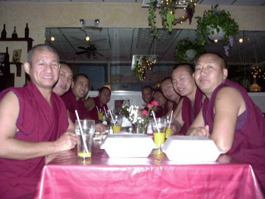 Dinner at Marios with the monks