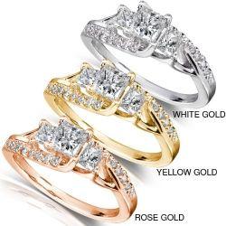 1ct TW Three Stone Princess Diamond Engagement Ring in 14k Gold