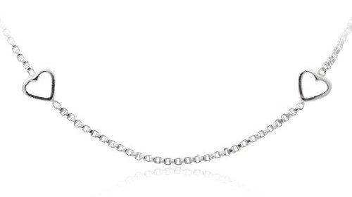 Sterling Silver Small Box-Chain with Hearts Necklace