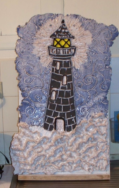 Paper Clay Lighthouse - Original art by Sharrie69