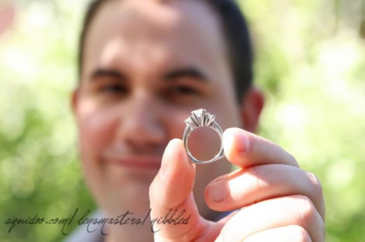 my hubby with the moissanite ring he selected for me