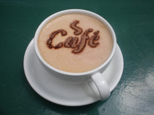 Cafe written on a Mug of Coffee