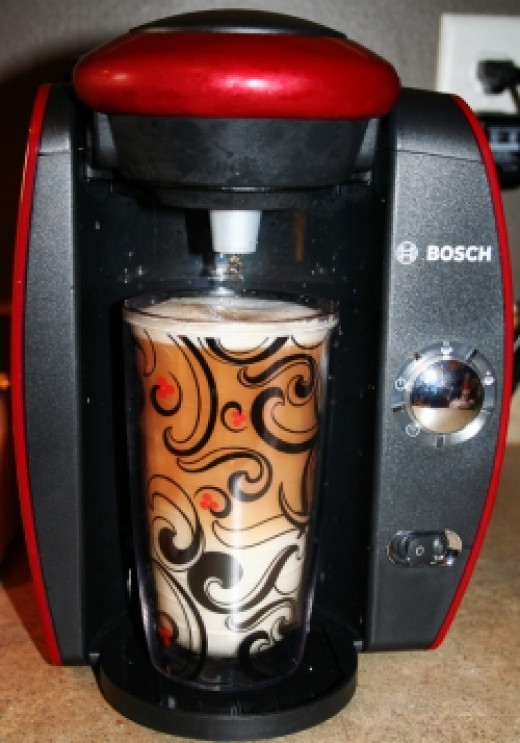 My Red Tassimo Brewbot making a chai latte
