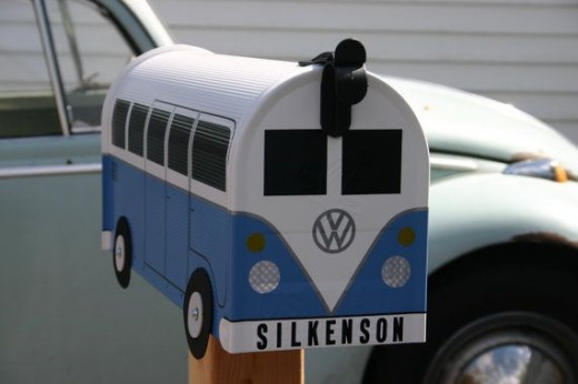 Sweet little VW Bus mailbox. Where to get: http://www.etsy.com/listing/100757714/fire-orange-volkswagen-bus-mailbox-by