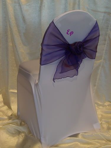 Spandex chair cover for a round-back banquet chair. Very sleek--great for a modern look.