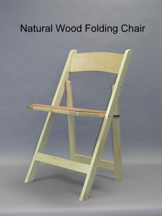 Natural padded chairs. The white and the natural are the most popular and available options, but I've seen black, mahogany, slate...as well as custom color pads.