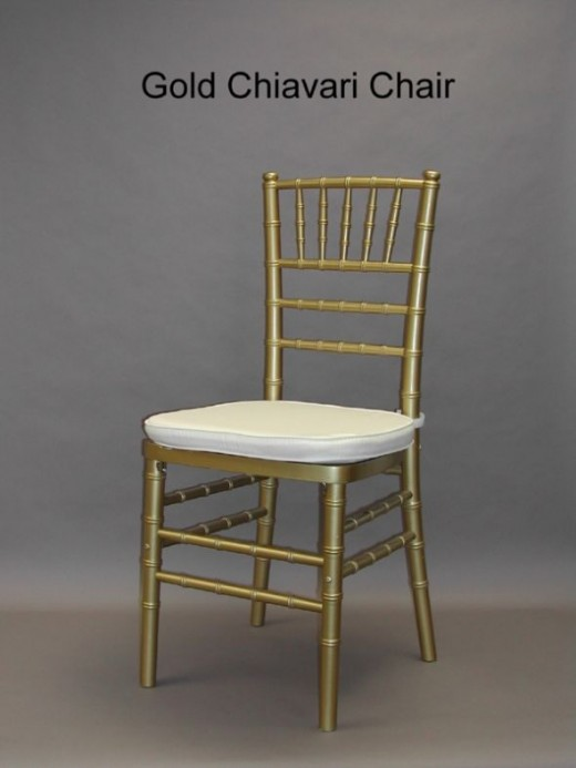 Gold Chiavari chair. This one's got a white pad, but most places that rent Chiavaris have different pads you can choose, or you don't have to go with a pad at all. Chiavaris with the pads rent for $5-10 and a lot of places will not let you use them o