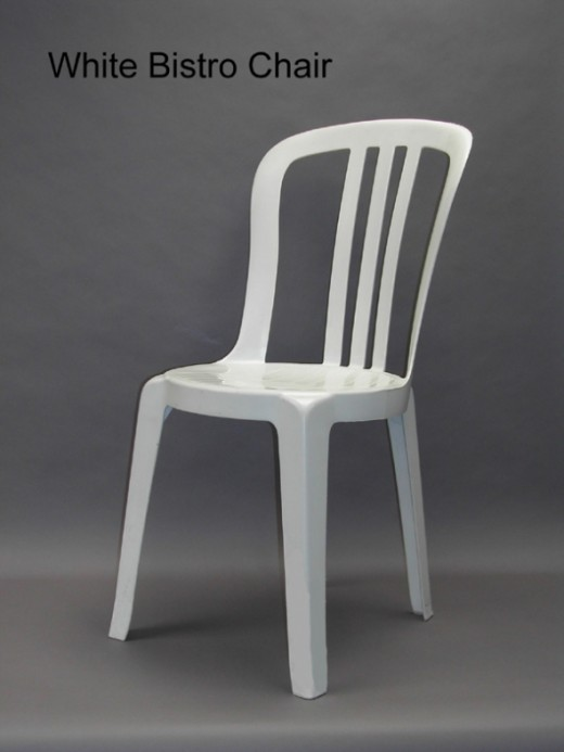 "White plastic ""bistro"" chair."