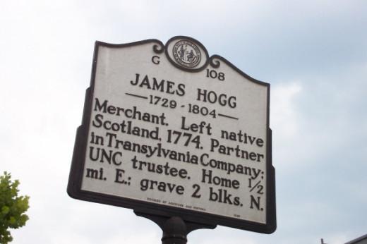James Hogg marker in Hillsborough, NC