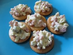 Diced Ham Salad on crackers