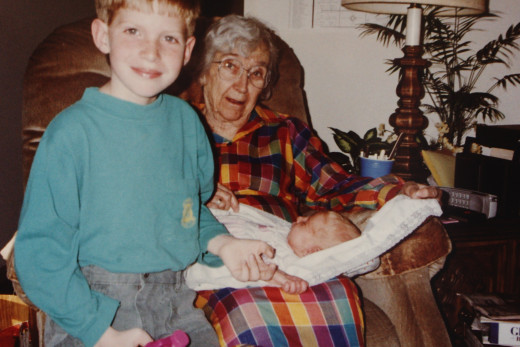 My son and daughter with my grandmother - taken in 1993 - I am so glad I now have a digital copy of this priceless picture.