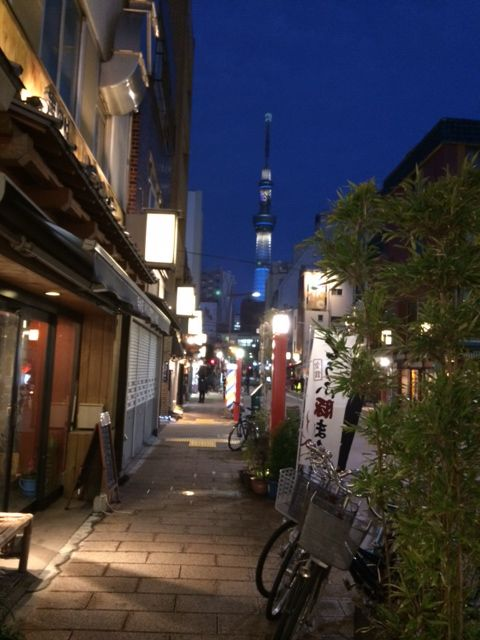 The Sky Tree in the distance from the old streets of Asakusa.