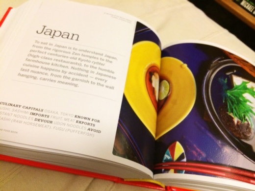 The chapter to Japan starts off with a beautiful photograph of traditional Japanese cuisine.