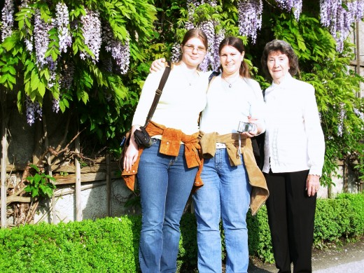 My daughter, me and my mother in Mirabell Garden